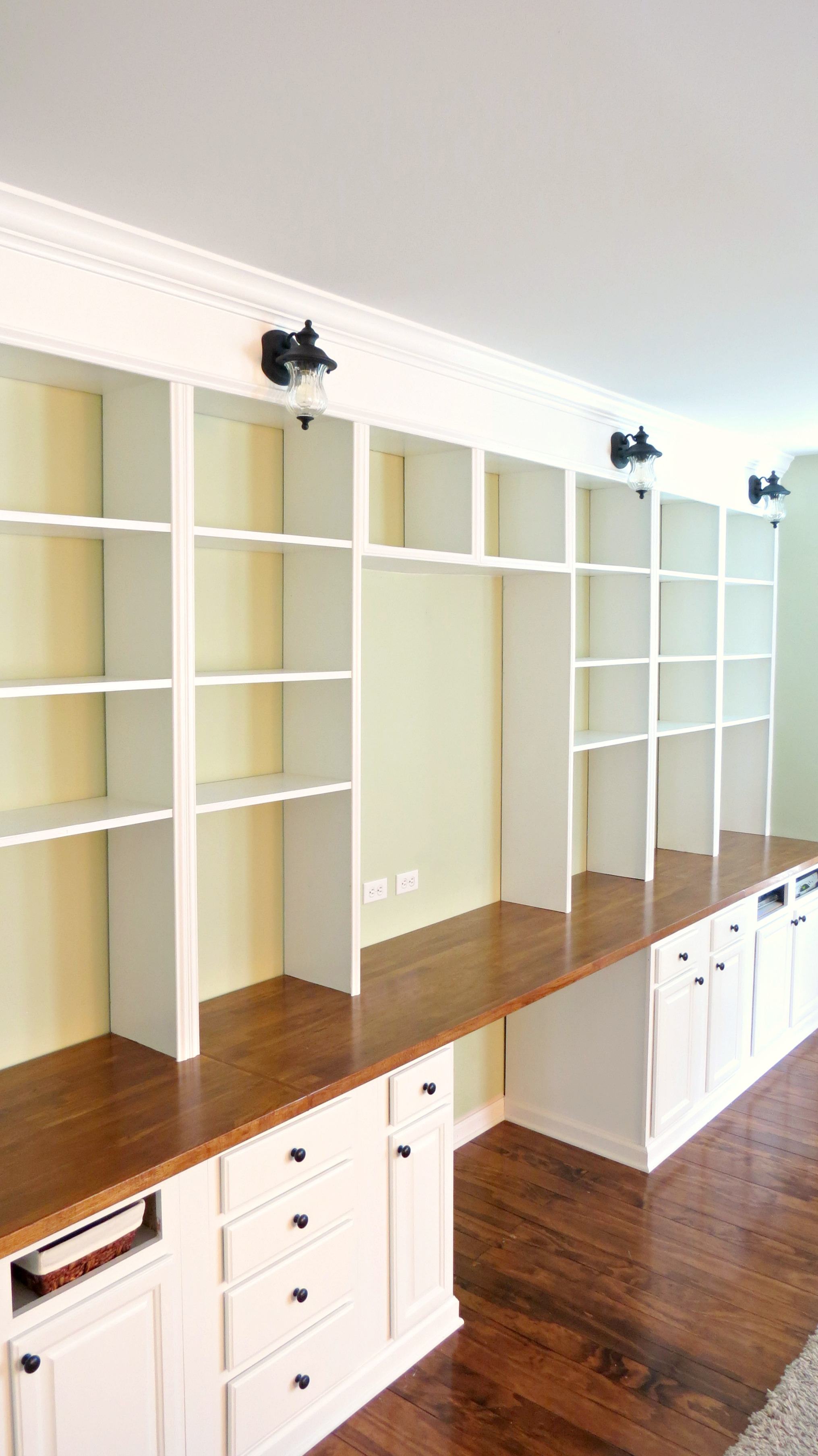 Smothery Build A Wall To Wall Built Bookcase Unit Home Is Where My Heart Is Featured On Remodelaholic Diy Wall Mounted Shelving Unit Diy Wall Shelving Unit Desk interior Building Wall Shelving Unit