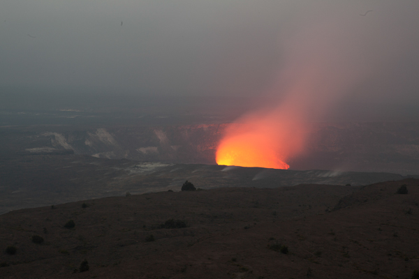 Once it's dark you can see the glow of the caldera. During the day it just looks like steam.
