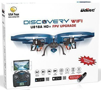 UDI U818A WiFi FPV RC Quadcopter Drone – VR Headset Compatible with HD Camera – Includes BONUS BATTERY + Power Bank (Quadruples Flying Time) – FAA Registration NOT Required