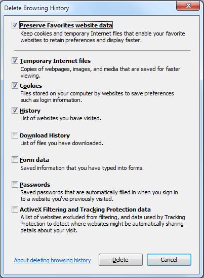 Delete history- IE