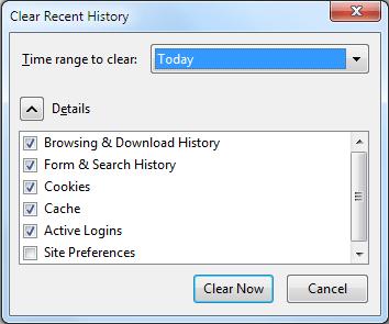 Delete history- Mozilla