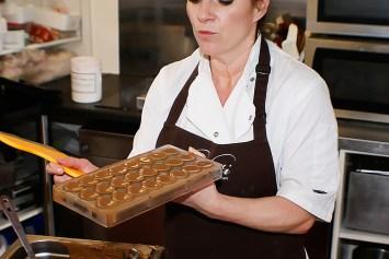 Linda hard at work making delicious chocolate treats!