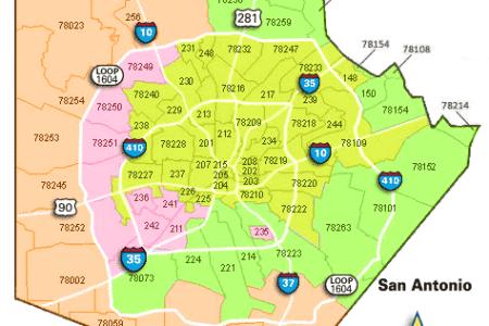 map san antonio zip codes