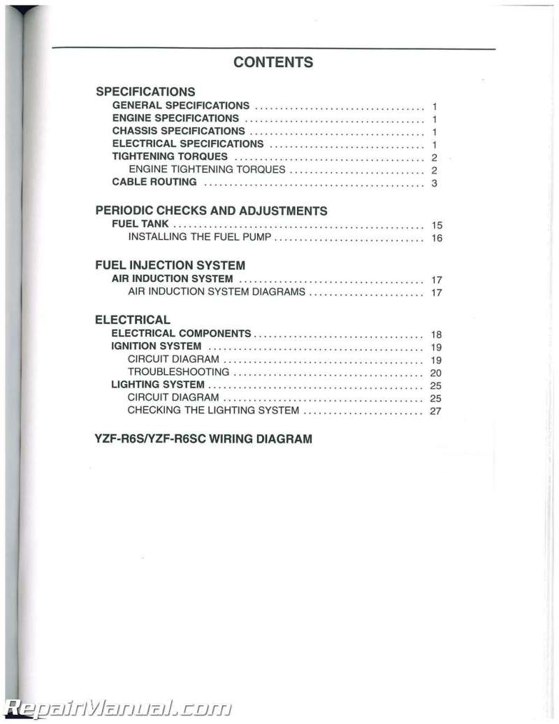 76 2003 Yamaha R6 Manual 2008 Free R6r Wiring Diagram Yzf 2006 Service