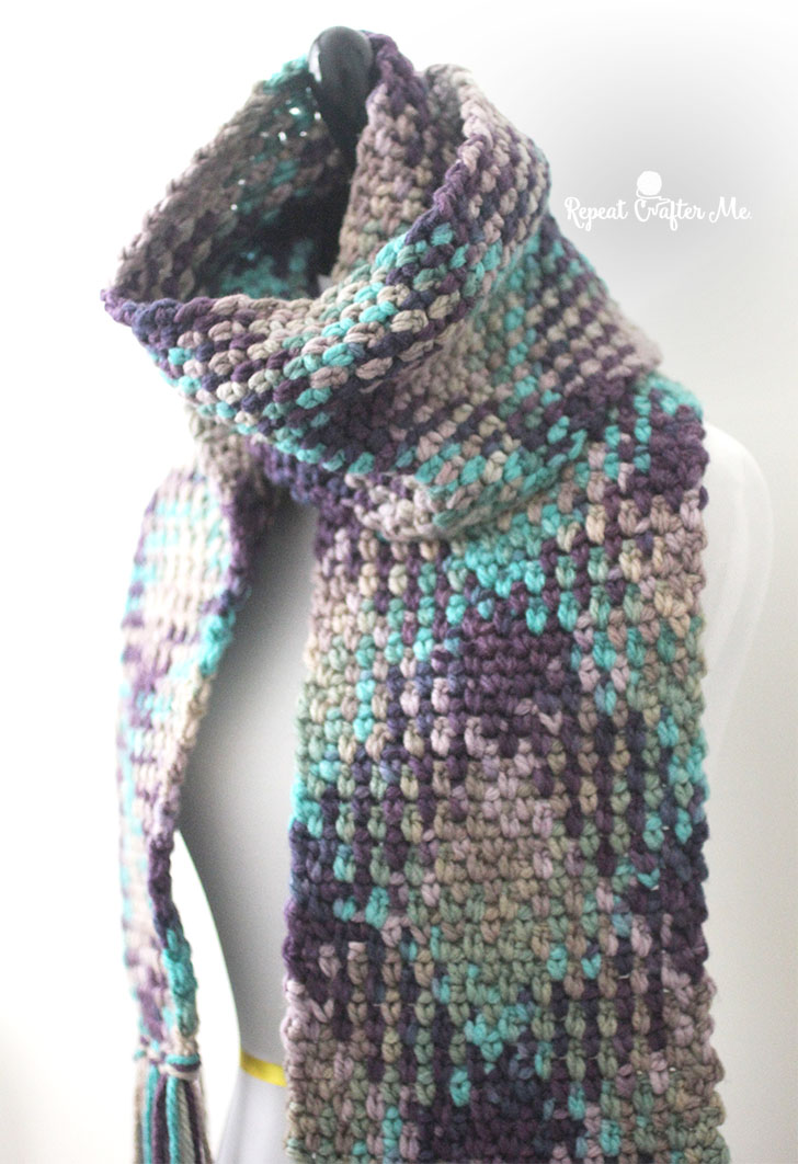 Crochet Patterns Multicolor Yarn : Crochet Planned Color Pooling Scarf - Repeat Crafter Me
