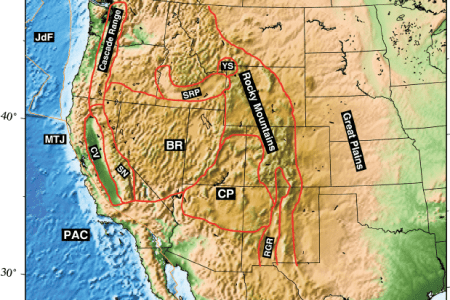 . a topographic map of the western united states