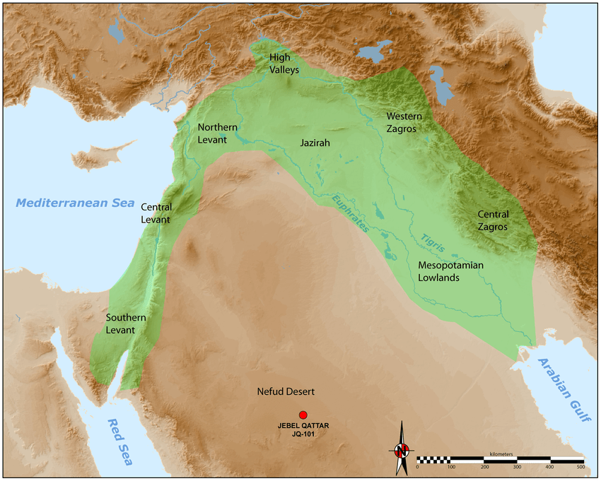 Map of the Neolithic Near East with the different geo cultural zones     Map of the Neolithic Near East with the different geo cultural zones of the  core