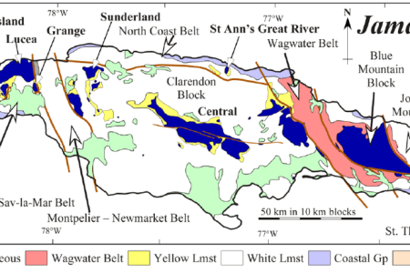 figure 1 map of jamaica showing distribution of inliers on the tectonic block and belt