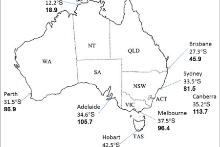map of australia showing states territories capital cities and their laudes s and