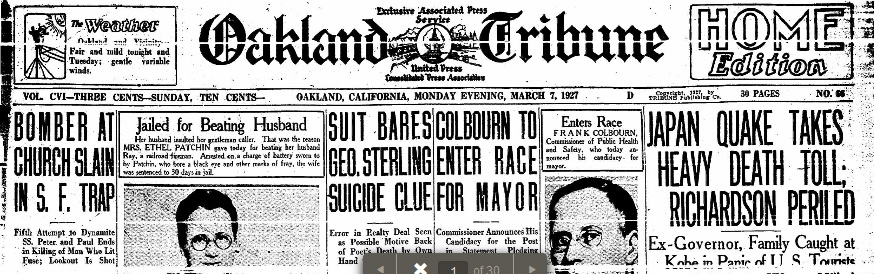 Oakland Tribune 7 Mar 1927 Headlines