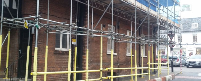 Scaffolding on Saffron Walden Town Hall