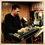 """Chris Walke records pedal steel on """"Jesus Loves Me"""" at The Dragon Room, Lombard, IL."""