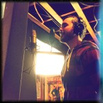 """Oliver Bujdei records vocals on """"This Little Light of Mine"""" at The Dragon Room, Lombard, IL."""