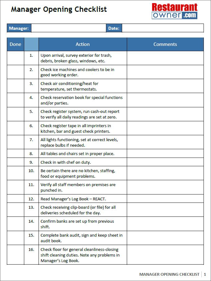food safety audit checklist for restaurant