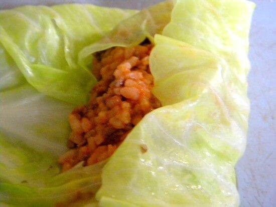 step three of making cabbage rolls