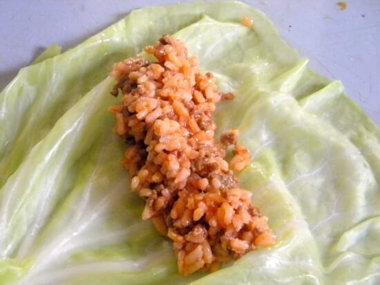 step one of making a cabbage roll