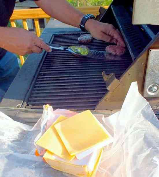 marc grilling cheeseburgers