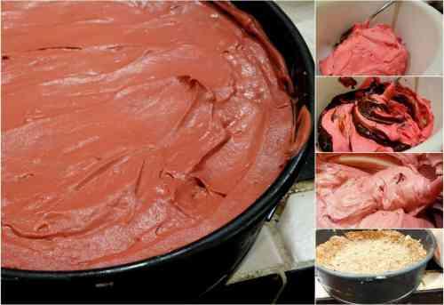 frozen red velvet german chocolate pie steps