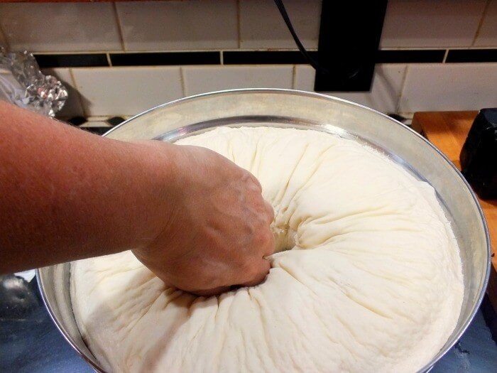 buttermilk bread dough punching down