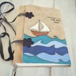 jurnal handmade piele - mare  valuri barca