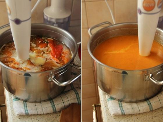 supa crema de ardei copti preparare 3