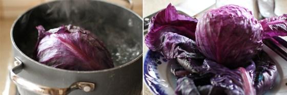 preparare 1 sarmale in frunze de varza rosie