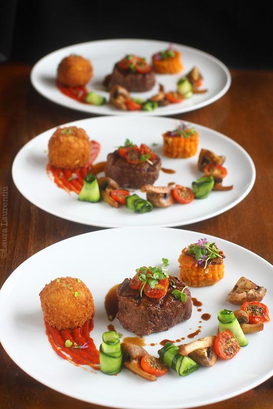 muschi de vita, arancini-gorgonzola, ciuperci, zucchini, rosii cherry, pire de ardei rosu, dulceata de ceapa, cartof dulce dauphinoise 1