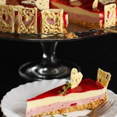 cheesecake fara coacere cu ciocolata alba si zmeura-2