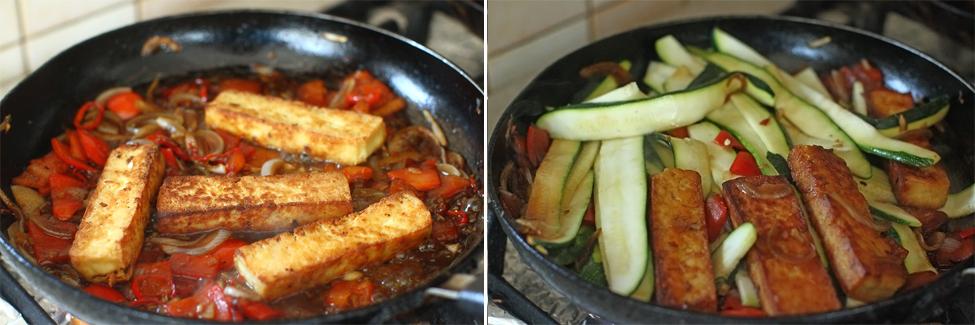 tofu la tigaie cu legume de vara preparare 4