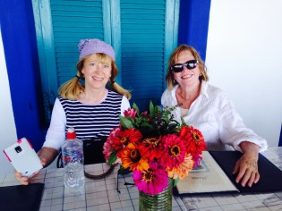 Lunch with my friend Janet Wainwright on Patmos, Greece.