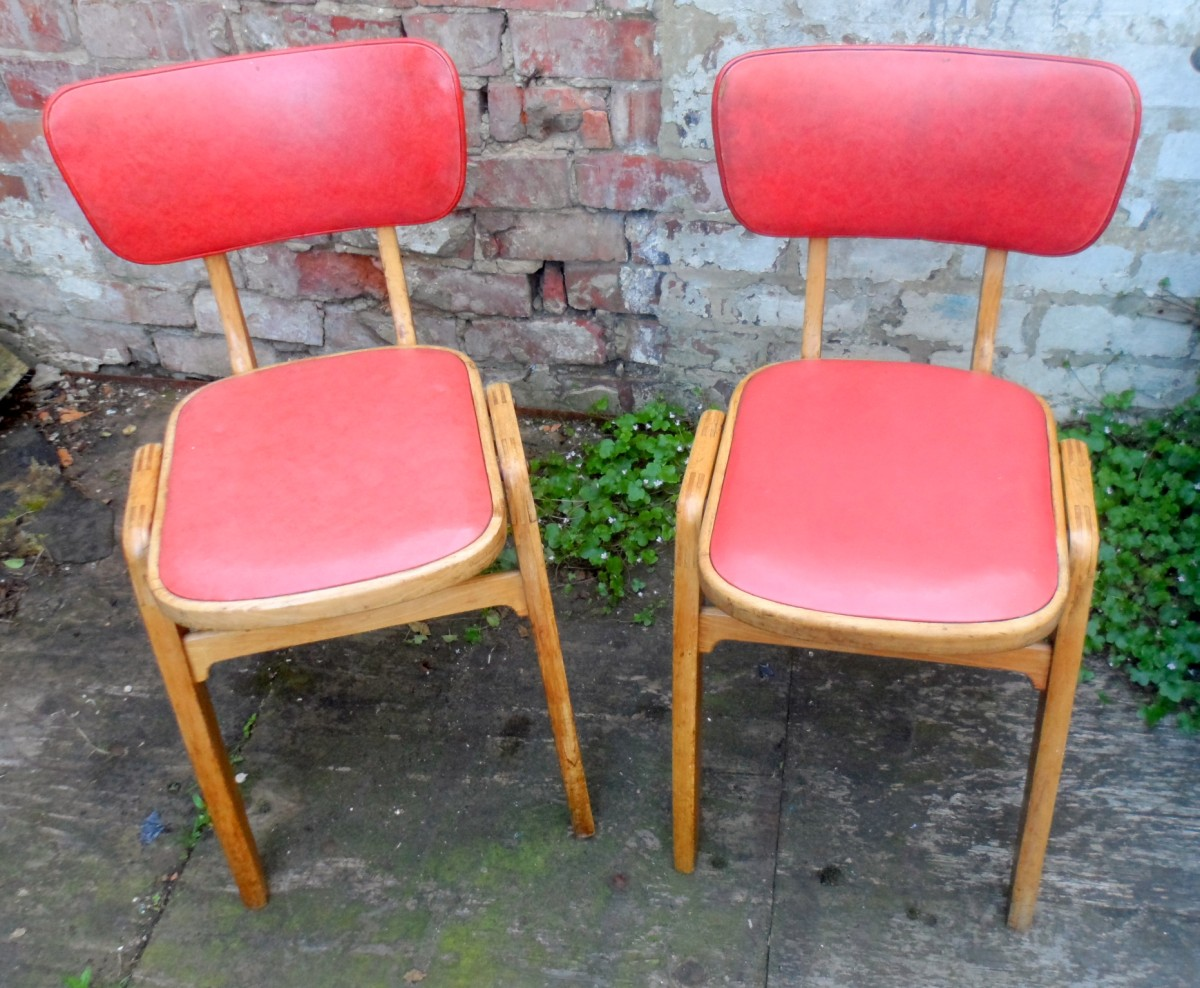 pair of vintage mid 20th century retro kitchen diner chairs vinyl wood circa 1950s eric lyons design 3073 p