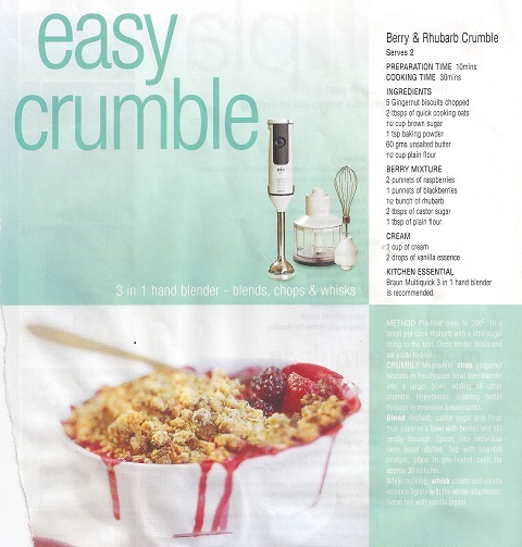 Rhubarb and Berry Crumble Recipe