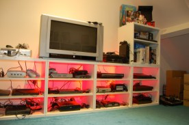 The unit housing my consoles all back lit in red…