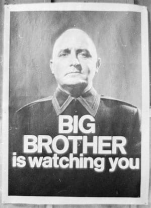 A 1965 poster advertises a BBC TV production of George Orwell's classic novel 1984. Larry Ellis/Getty Images