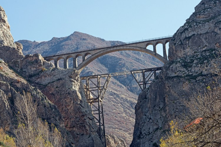 Audacious railway bridge, still carrying trains after 80 years. Eastern Alborz.