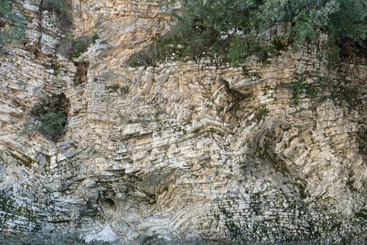 Limestone formations in canyon near Gjirokaster.