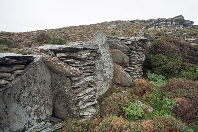 Distinctive walls, built from schist, Andros.