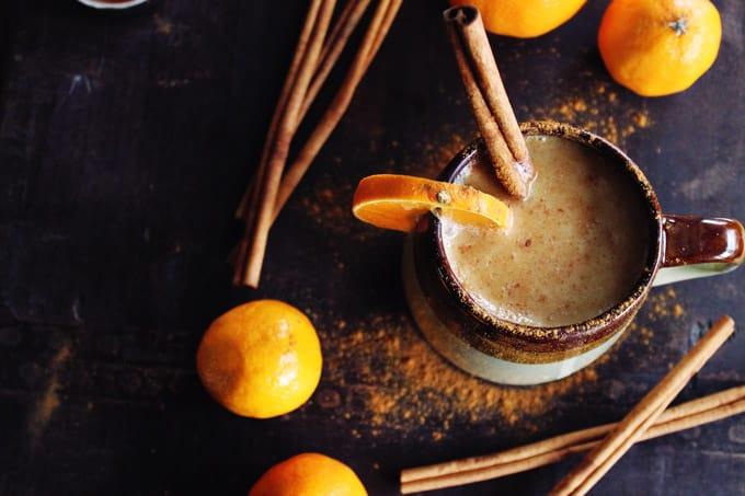 Almond milk chai with whiskey and orange