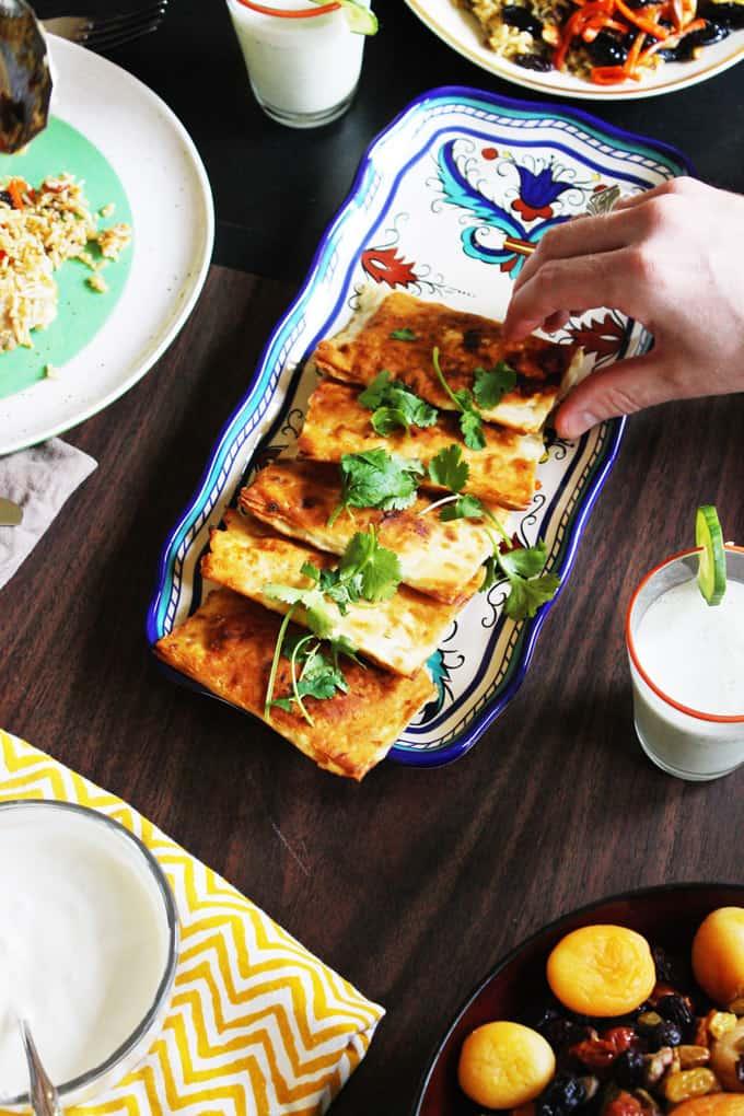 Sweet potato bolani with garlic yogurt sauce | Rhubarbarians