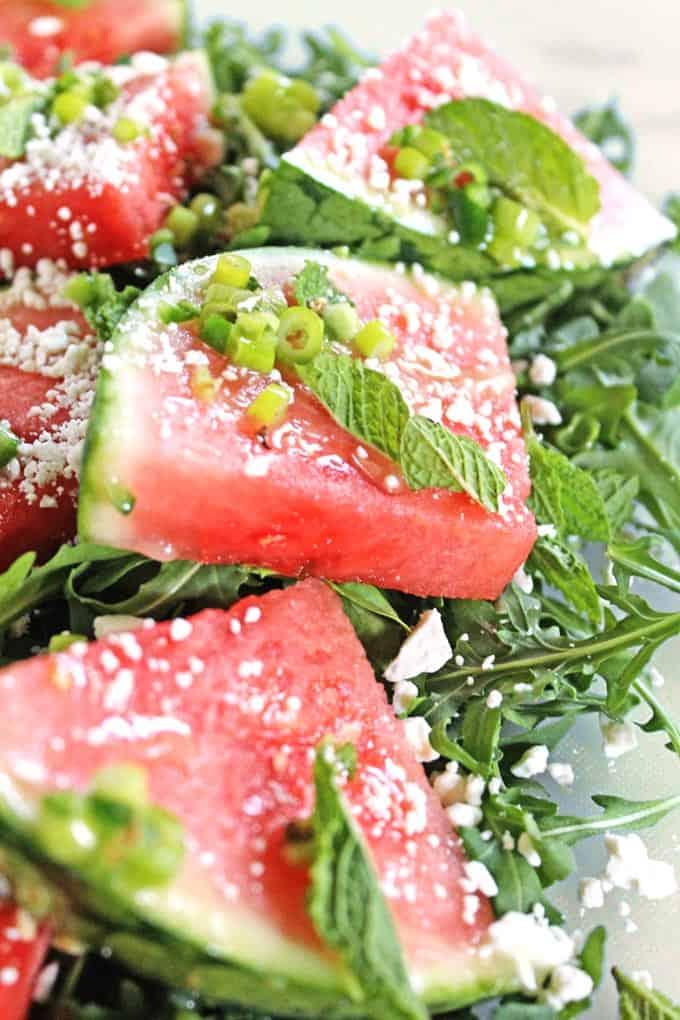 Spicy watermelon arugula salad // Rhubarbarians