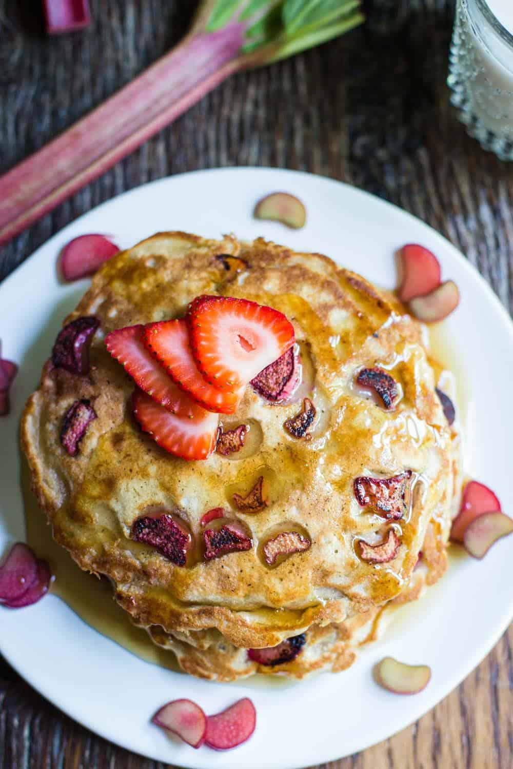 Awesome vegan rhubarb pancakes recipe! Brita Britnell's recipe for delicious, moist, pancakes with fresh rhubarb and banana. Vegan, vegetarian, dairy free. So good!