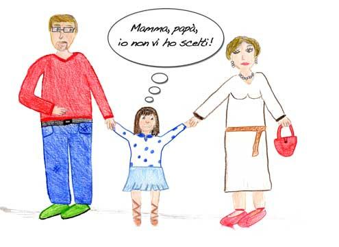 Rosa, 13 anni, disegna la sua famiglia.