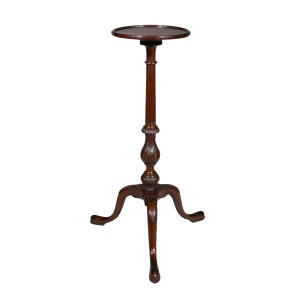 ANTIQUE GEORGE III MAHOGANY CANDLESTAND WITH DISH TOP