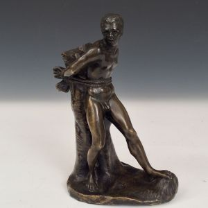 ANTIQUE BRONZE OF A BOUND SLAVE