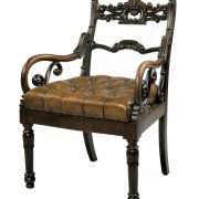 ANTIQUE ROSEWOOD LIBRARY ARMCHAIR - MANNER OF THOMAS HOPE