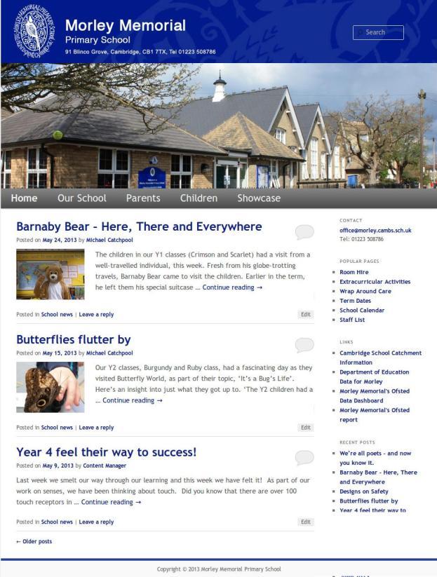 The new Morley Memorial School website