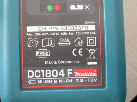 Makita charger spec showing the voltage range covered