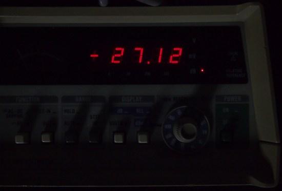 The fluke reading of a -7dBu signal after a 100x attenuator (-20dB)