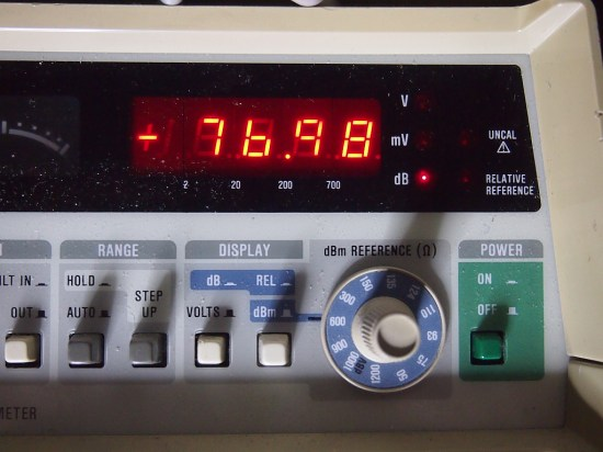 The noise floor with the input terminated in 150 ohm