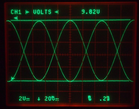 scope showing attenuator output x100 inverted against input